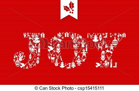 vector clip art of merry christmas joy concept icons merry