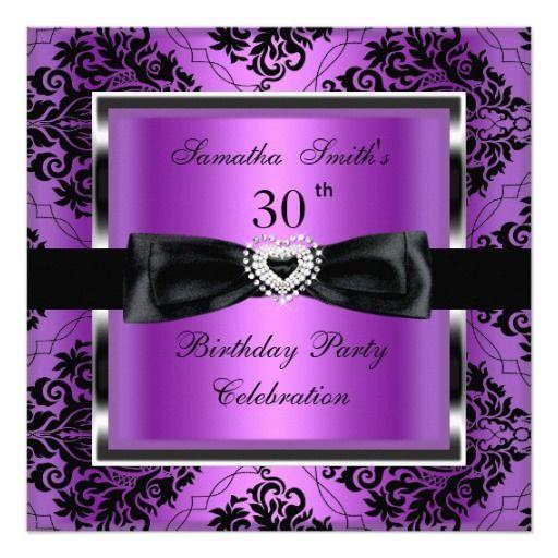 30th birthday party purple damask silver black invitation 50 30th birthday party purple damask silver black invitation bookmarktalkfo Gallery