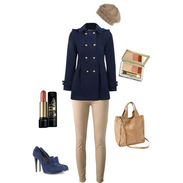 """Navy and Beige Woman's Winter Outfit"" by jessicaschmidt on Polyvore"
