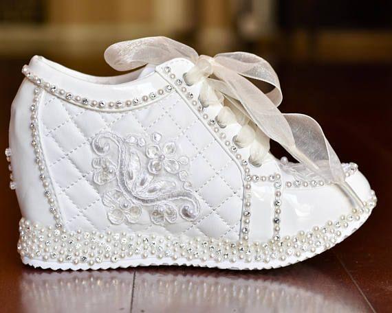Light Ivory Wedge Sneakers Bridal