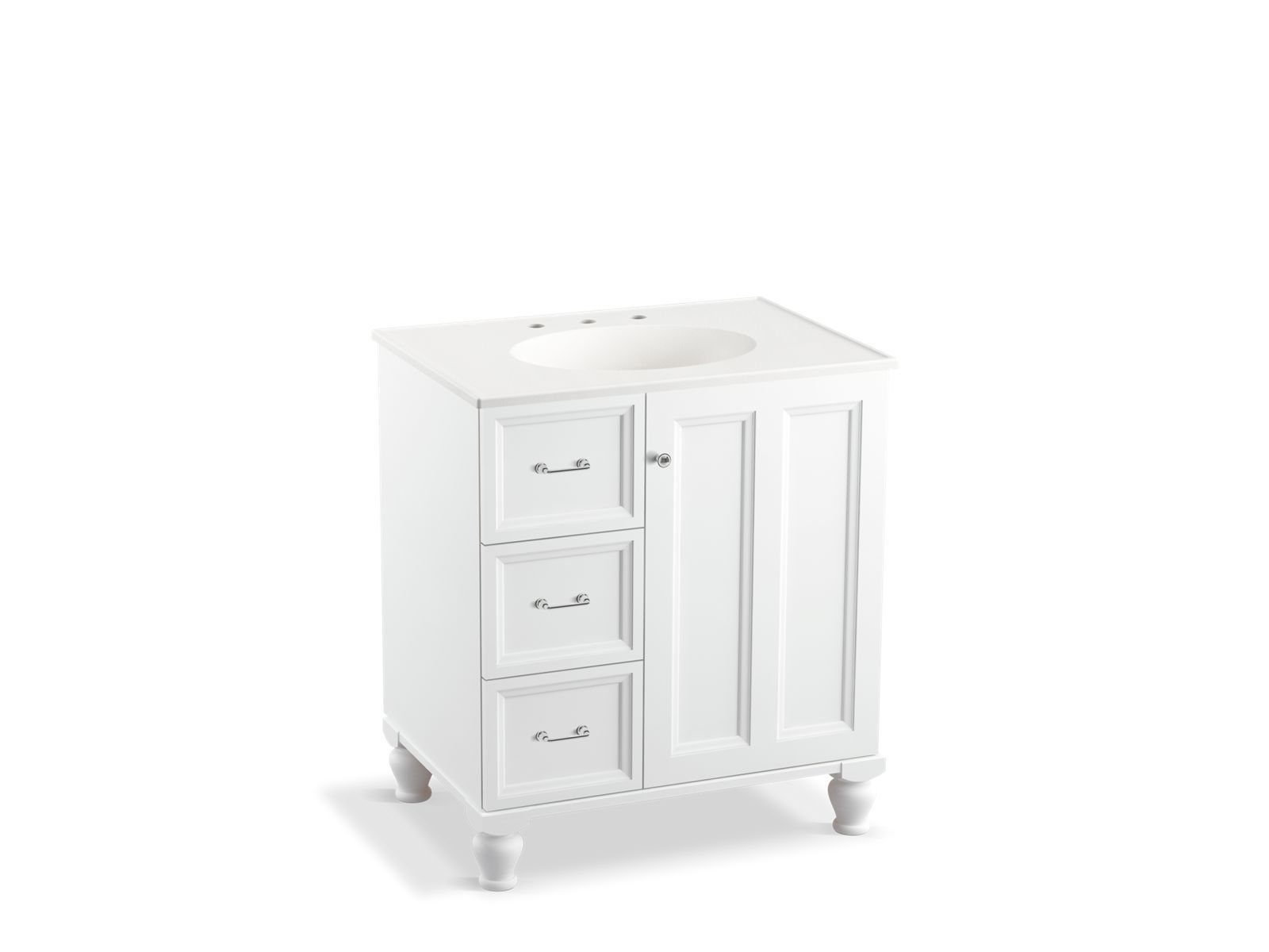 30 Vanity With Drawers K 99517 Lgl Damask 30 Inch Vanity With Legs 1 Door 3 Drawers