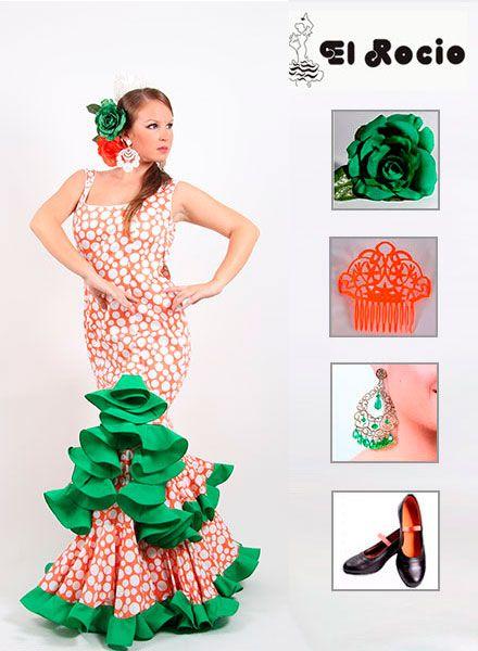 Vestido de flamenca en Oferta de tirantes de color naranja con lunares  blancos y con un toque verde en los volantes. Puedes combinar tu traje de  flamenca ... a5a41ffb2866