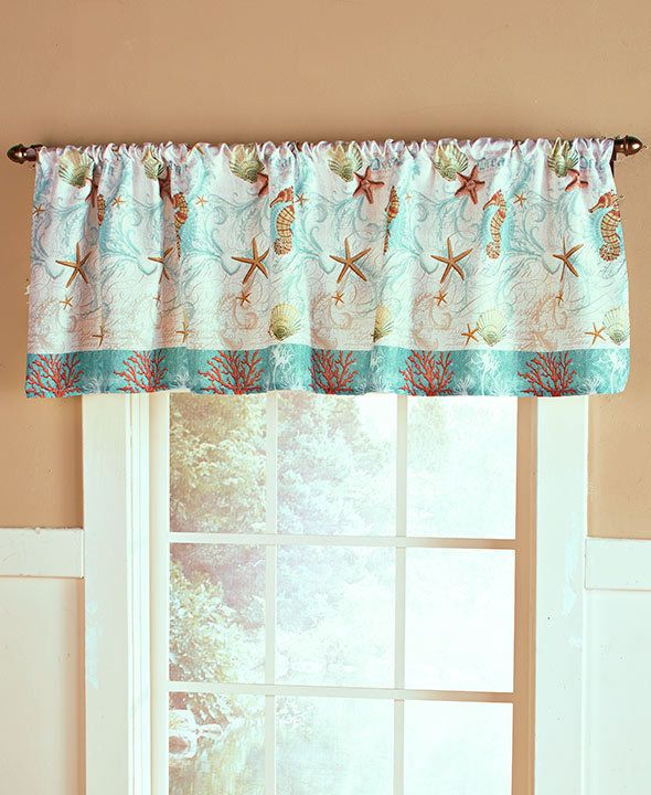 NEW Coastal Sealife Bathroom Seashell Starfish Window Curtain Valance
