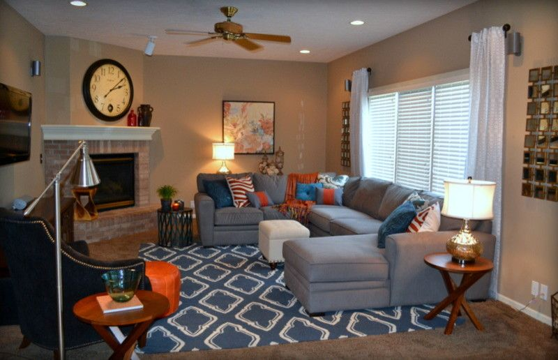 Grey tan and blue living room google search rooms i for Grey orange living room