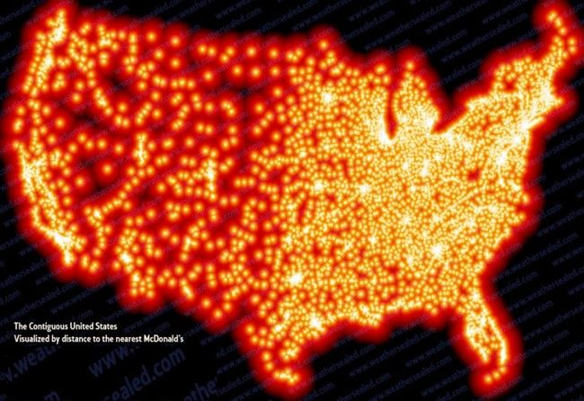 America Visualized By Distance To The Nearest McDonalds See - Weird maps of the us