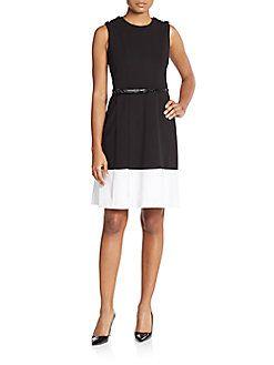CALVIN KLEIN Belted Pleat-Front Dress. #calvinklein #cloth #dress