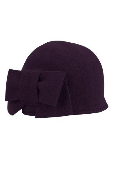 seeberger wool hat bow purple purple Direct leverbaar uit de webshop van www.ilovevintage.nl/