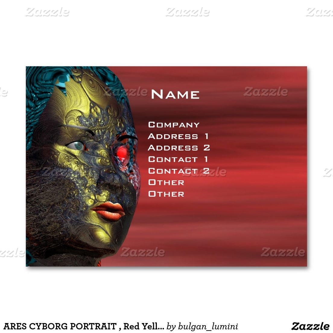 Ares Cyborg Portrait Red Yellow Science Fiction Large Business
