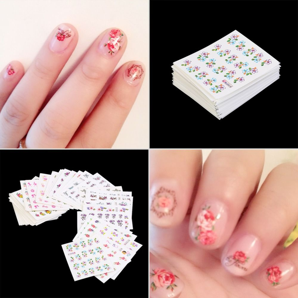 Nueva Llegada de La Manera 50 unids Diferentes estilos Nail Wraps Nail Art Flower Pegatinas Esmalte de Uñas Marca de agua Pegatinas