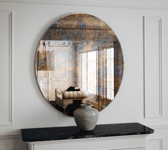 Art Deco Wall Mirror Round Pink Glass Mirror Art Deco Etsy Art Deco Wall Mirror Antique Mirror Wall Mirror Wall Bedroom
