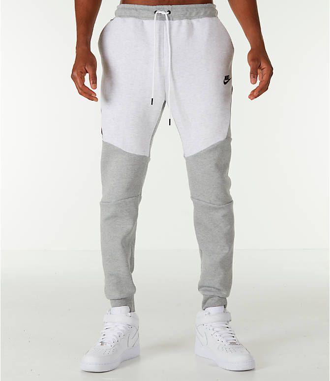 Front Three Quarter View Of Men S Nike Tech Fleece Jogger Pants In Birch Heather Grey Nike Clothes Mens Track Pants Mens Mens Jogger Pants