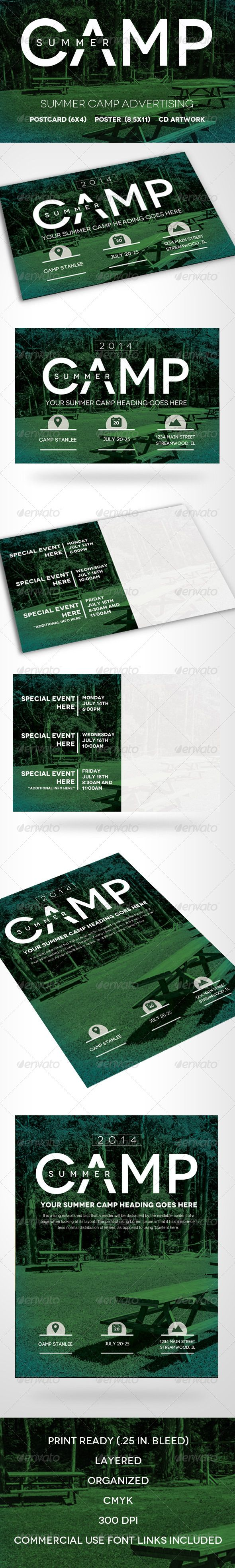 summer camp flyer template layout tyopgraphy pinterest flyer