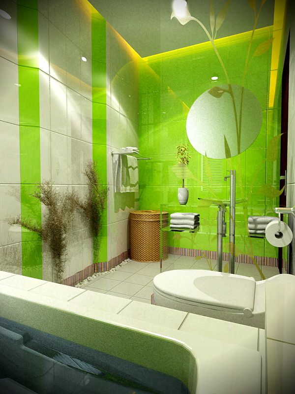 Exceptional Various Design Of Fantasy And Artistic Bathroom : Green And White Bathroom  Interior