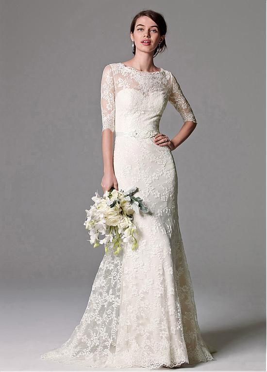 ff8b148bcb2 Elegant Lace Bateau Neckline Sheath Wedding Dresses