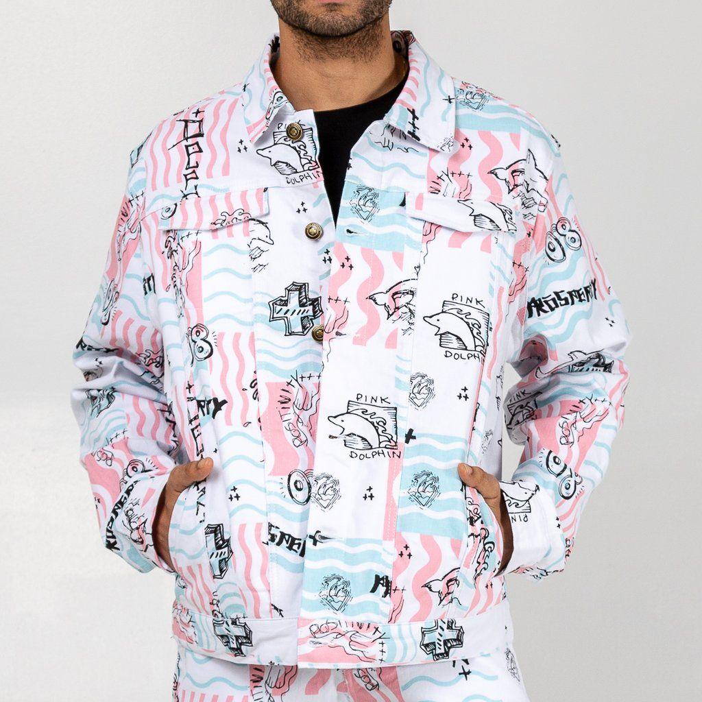 Scribbles V2 Denim Jacket In White Pink Dolphin Denim Jacket Jackets Denim [ 1024 x 1024 Pixel ]