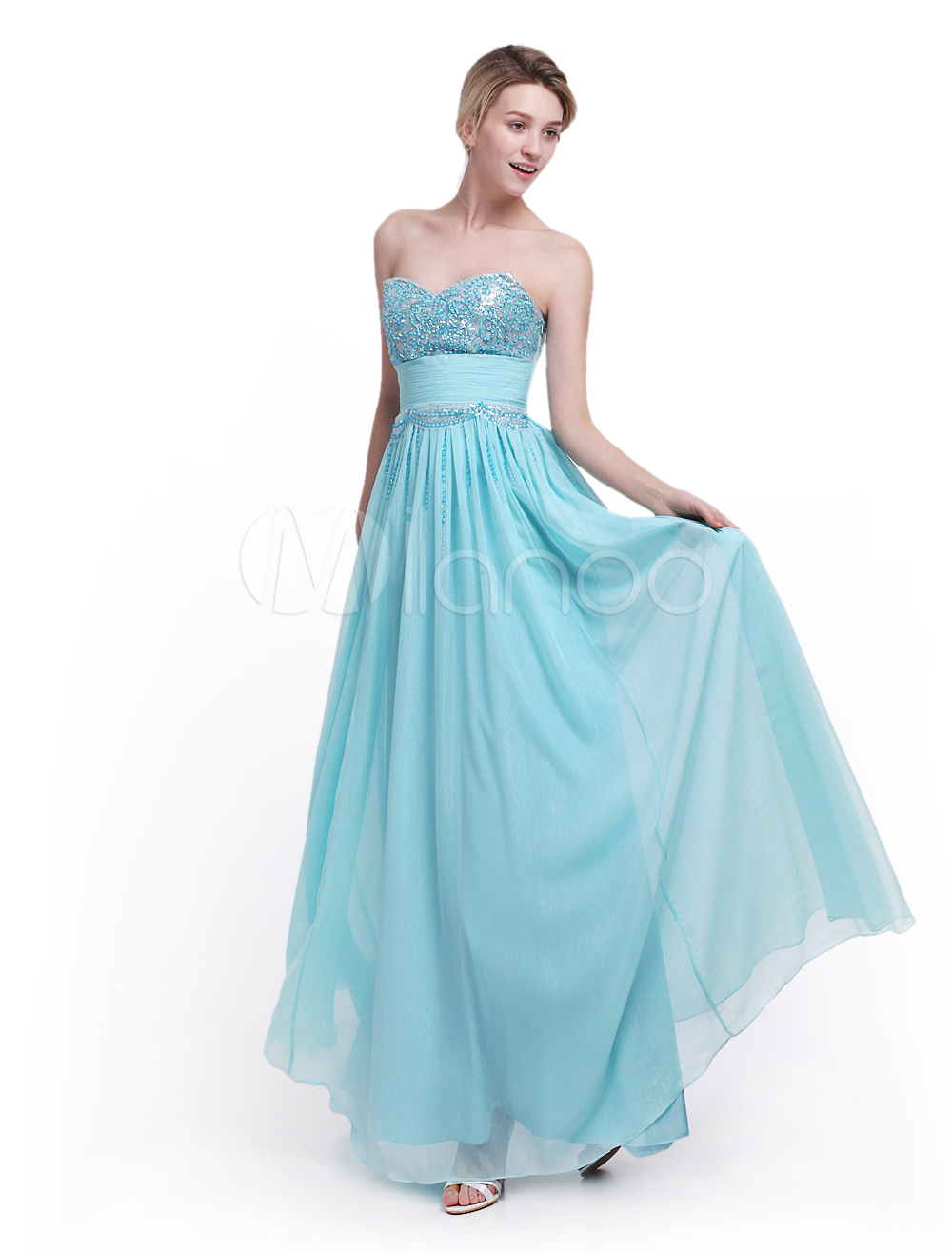 780b1944950 Mint Green Prom Dress Sweetheart Neck with Ruched A-line Bright Silk Chiffon  Skirt Milanoo  Dress