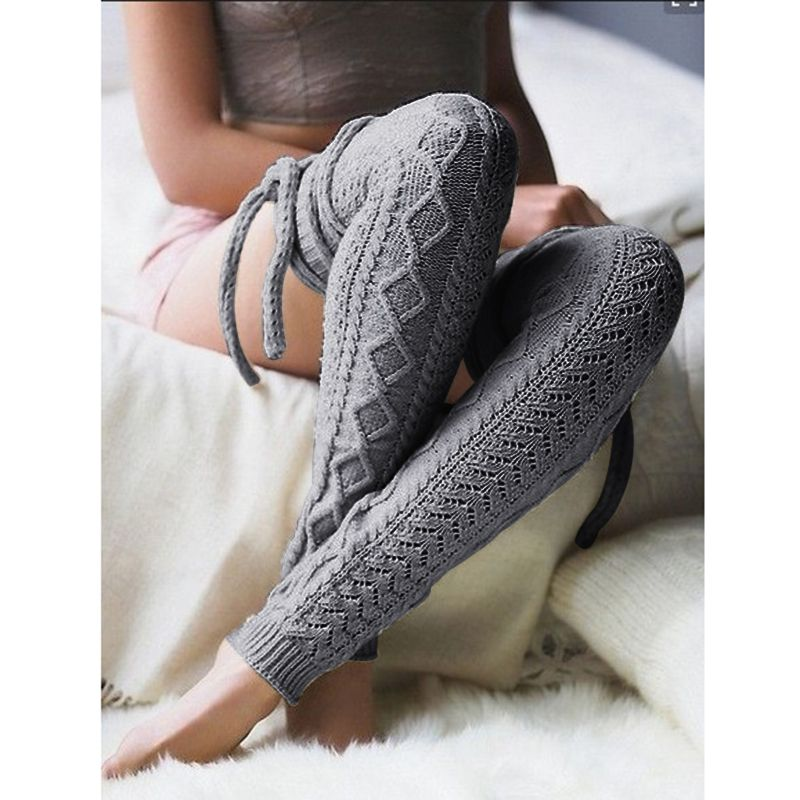 1e06caa41 Winter Womens Knitted Knee Stockings Warm Thigh High Stockings Pantyhose  Sexy Collants Stay Up Cotton Stockings Leg Warmers