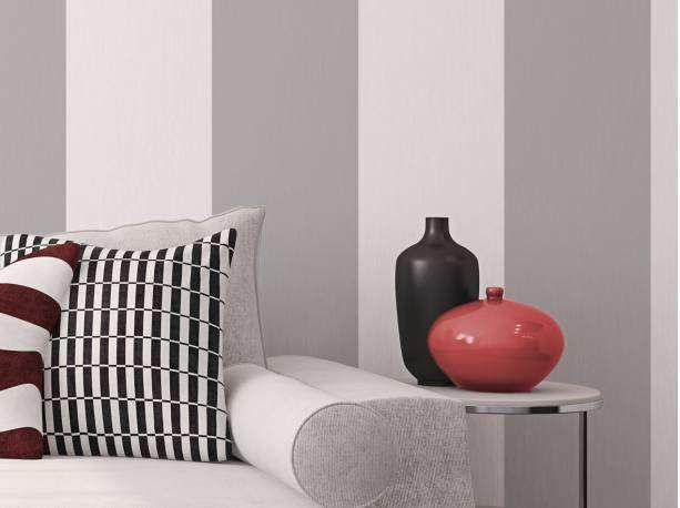 Papel de parede listras largas cinza e branco