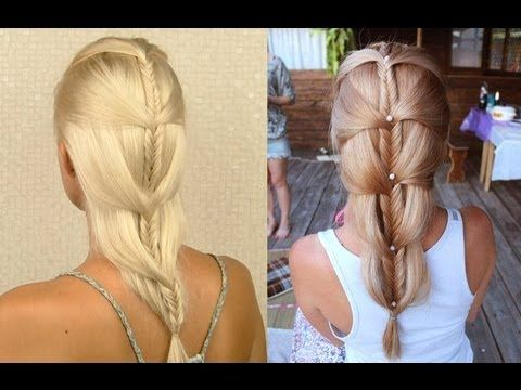 Simple Elegant Cascading french fishtail braid down do Wedding prom hairstyle tutorial for medium and long hair Photos - Cool herringbone braid Top Design