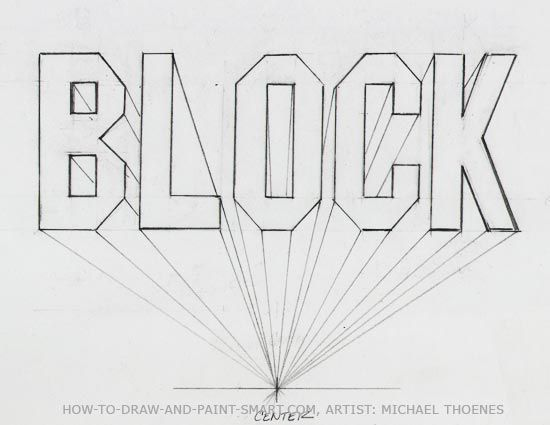 one point perspective block letter how to