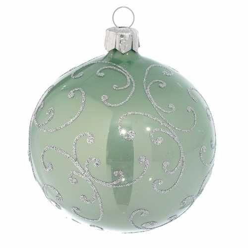 Christbaumkugeln Rosa Glas.Tannenbaumkugel Metallicgrün Und Silber Glas 80mm Online Verfauf