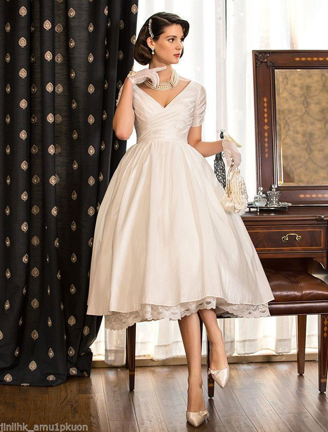 Vintage Short Wedding Dresses Satin Tea Length Ball Bridal Gown Custom Size 4 26 Cloth Knee Length Wedding Dress Short Wedding Dress Tea Length Wedding Dress