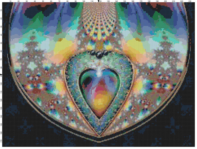 Heart Gemstones Fractal Cross Stitch Printable Needlework Pattern - DIY Crossstitch Chart, Relaxing Hobby, Instant Download PDF Design