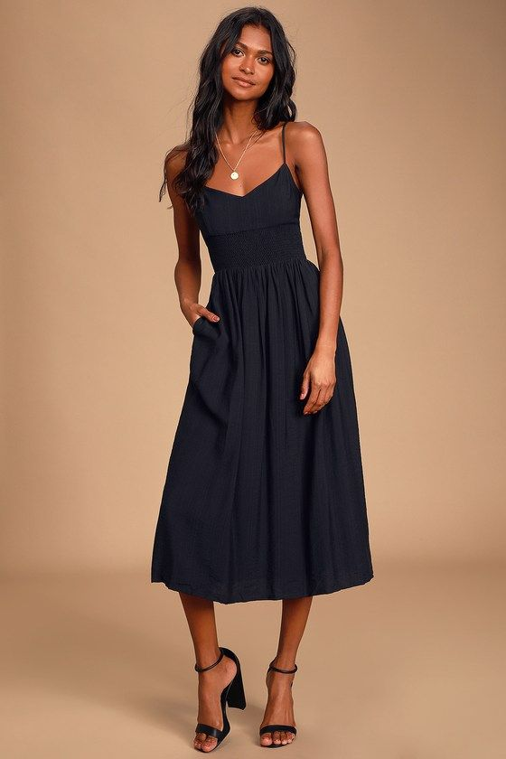 Photo of Full Heart Black Smocked Midi Dress