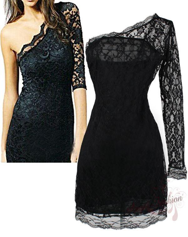 one shoulder cute short black dresses