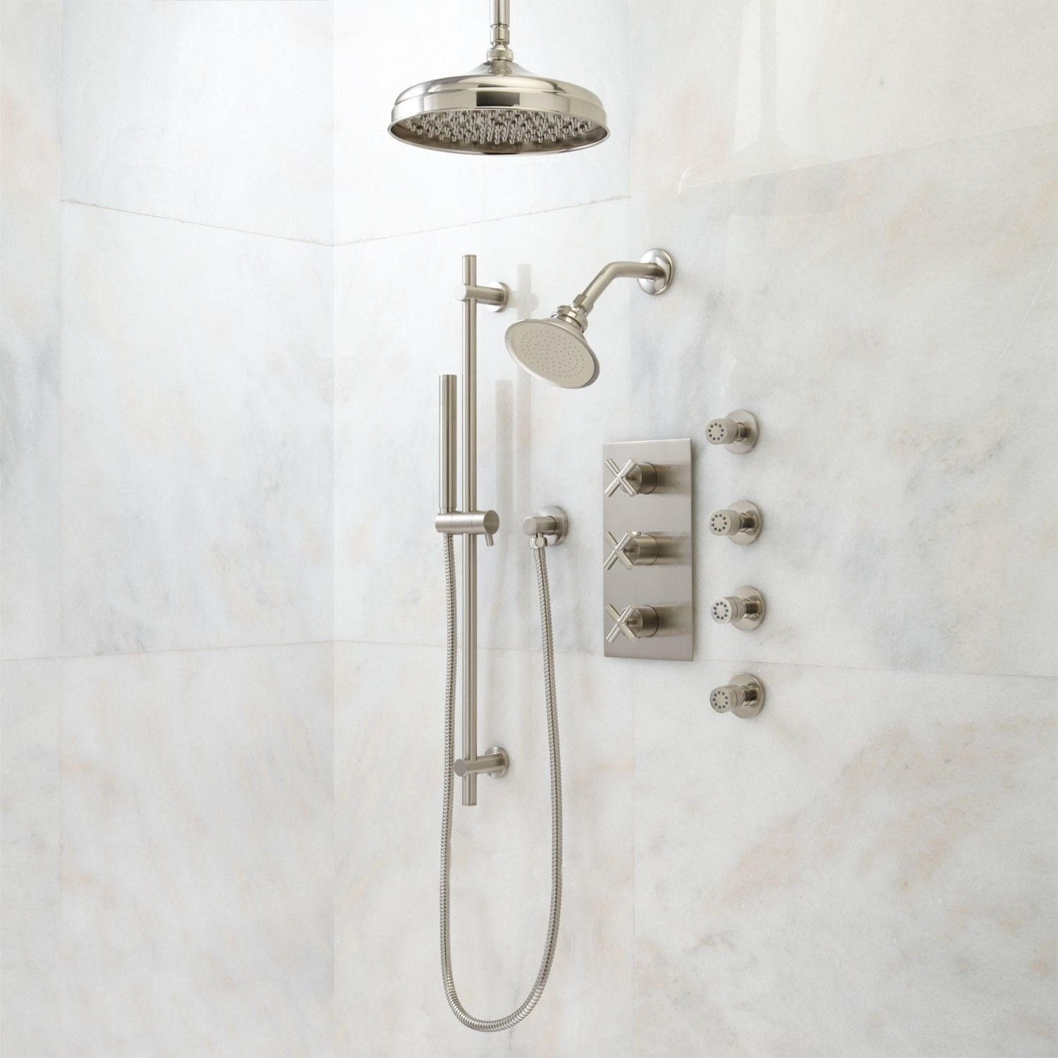 Exira Thermostatic Shower System Dual Shower Heads Hand Shower