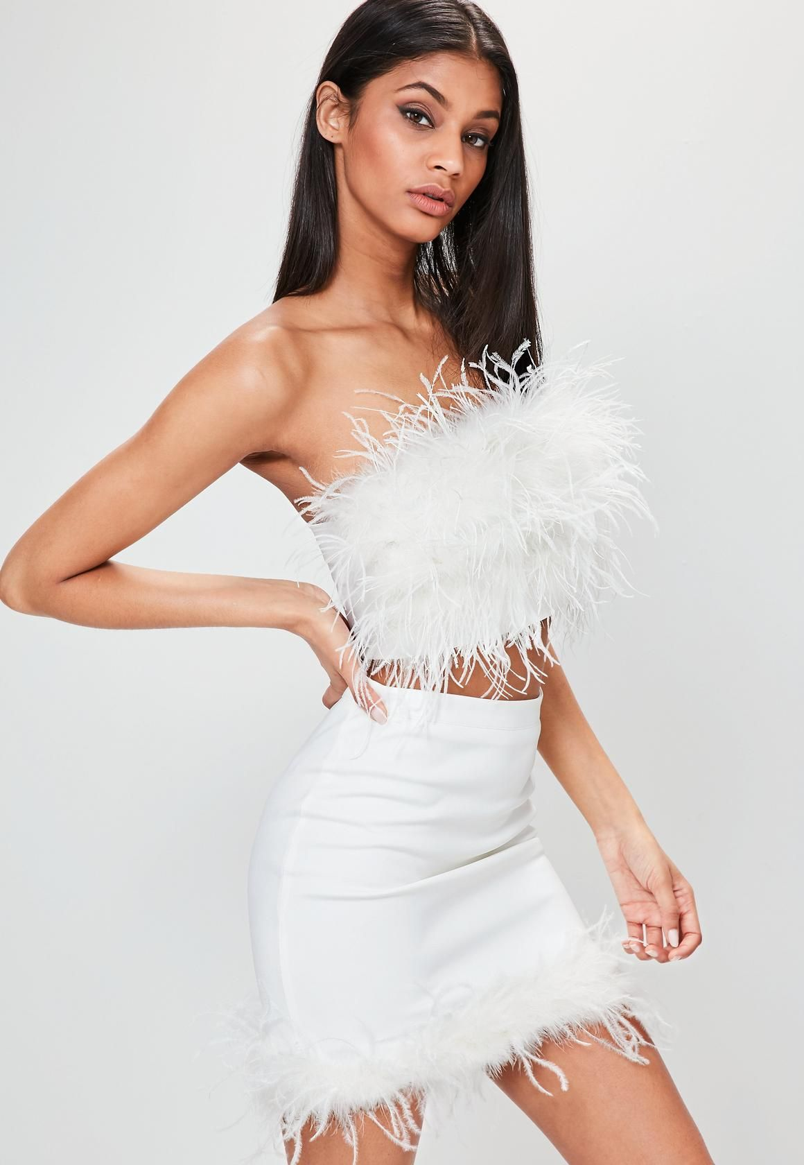 Missguided White Feather Bandeau Top In 2020 Feather Dress Feather Dress Short Feather Fashion