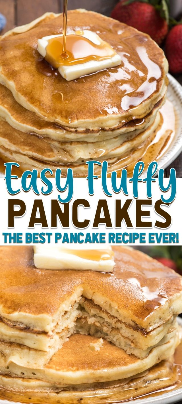 This is the best fluffy pancake recipe ever! Make homemade pancakes in no time when you use this easy buttermilk pancake recipe. #easy #fromscratch #buttermilk #homemade #fluffy