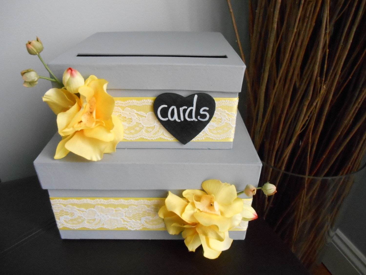 Custom Wedding Card Box 2 Tiered Slate Gray And Yellow Orchids