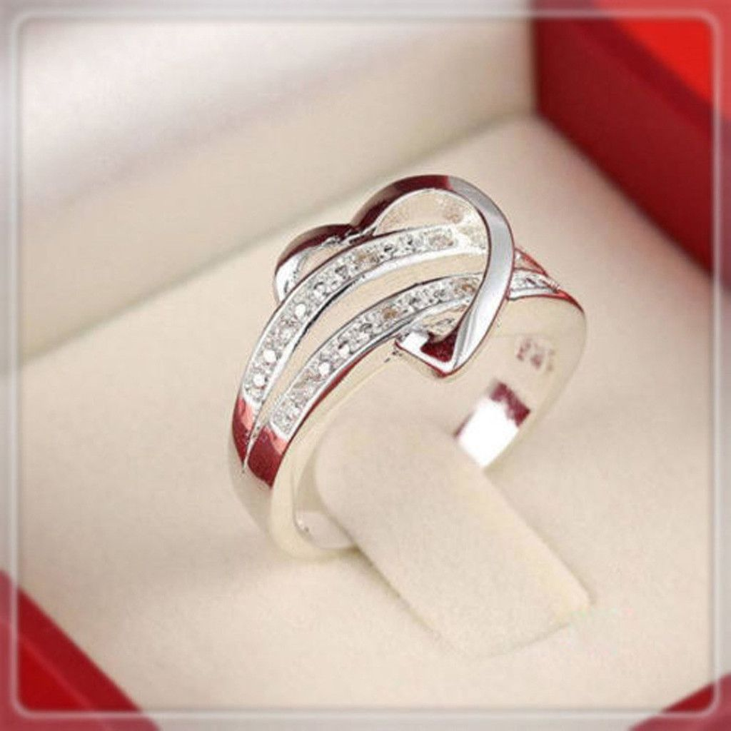 925 sterling silver heart wedding ring free just pay shipping - Free Wedding Rings
