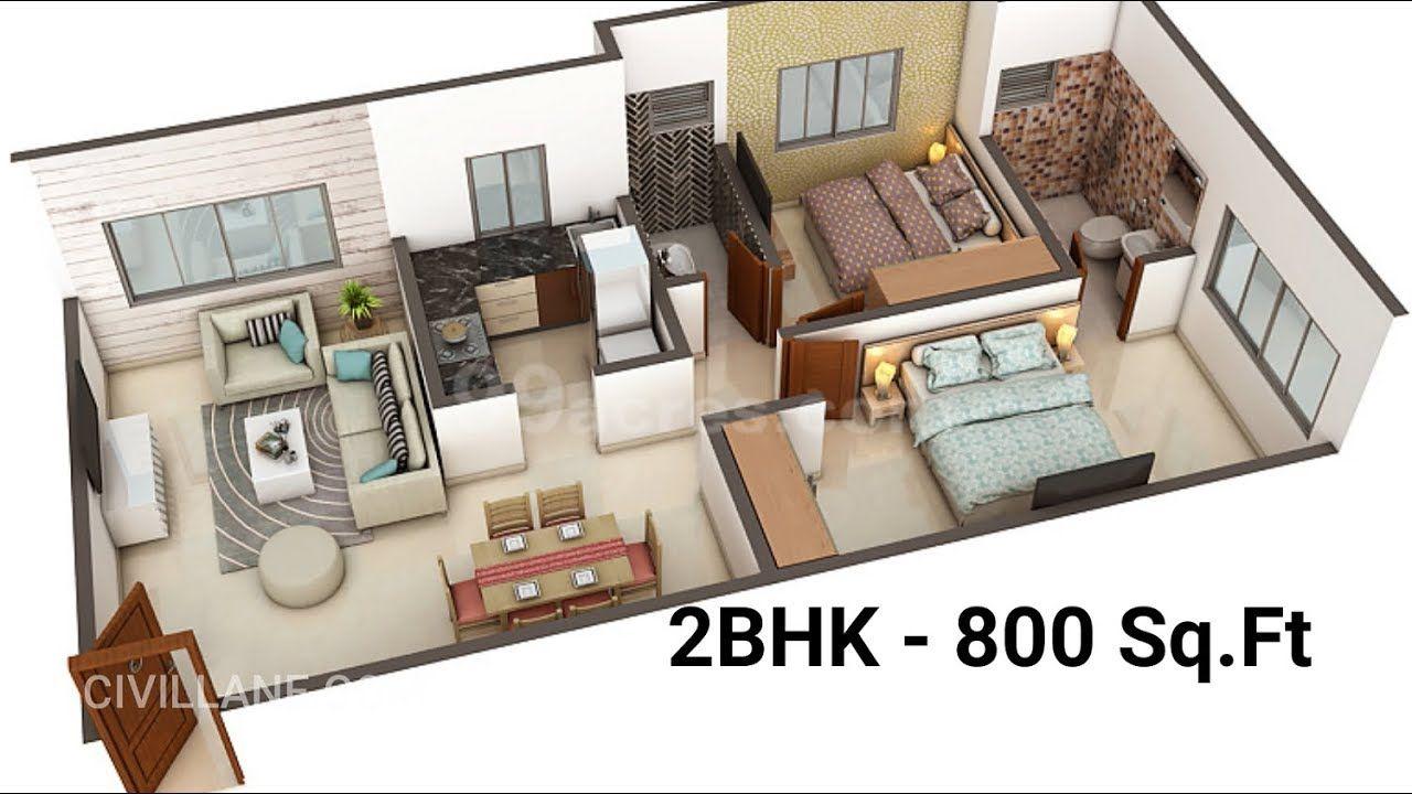 """2BHK House Interior Design 800 Sq Ft"" by CivilLane"