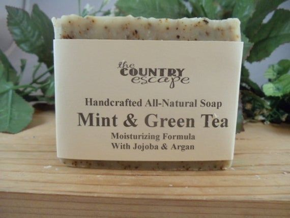 Mint and Green Tea Olive Oil Soap Soap -Handcrafted -All Natural Vegan -Naturally Scented with Shea
