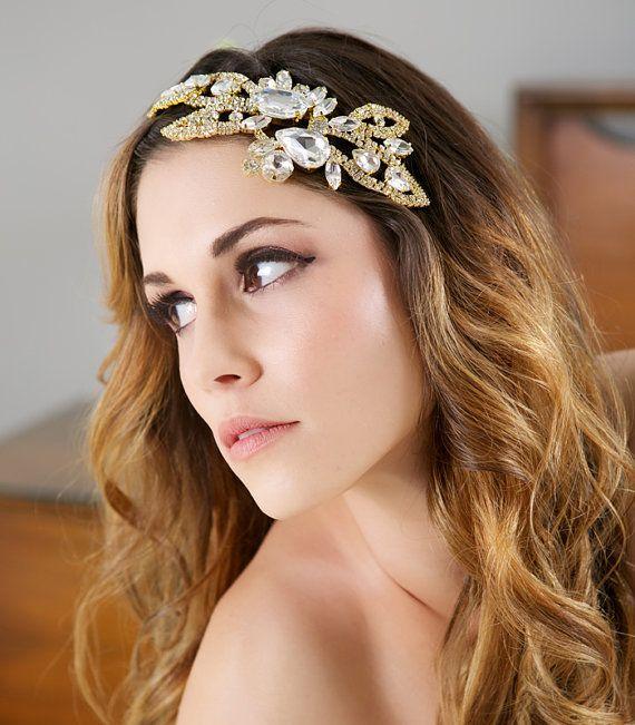 Gold Crystal Bridal Headpiece