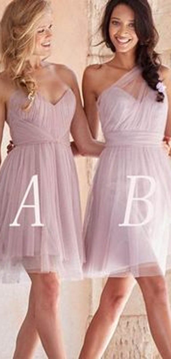 Mismatched Dusty Rose Short A Line Tulle Bridesmaid Dresses