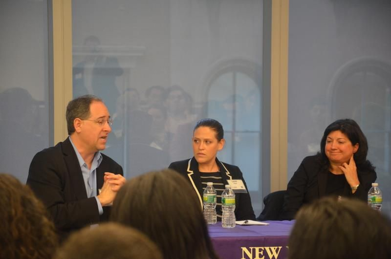 NYU SHRM's Navigating Office Politics panelists, from left: Todd Cherches (Big Blue Gumball & NYU Adjunct Prof.), Leslie Paul (New York Life Insurance), Annemarie DiGiacomo (Deloitte & NYU M.S HRMD alumna). Photo by Stacey Zhang.