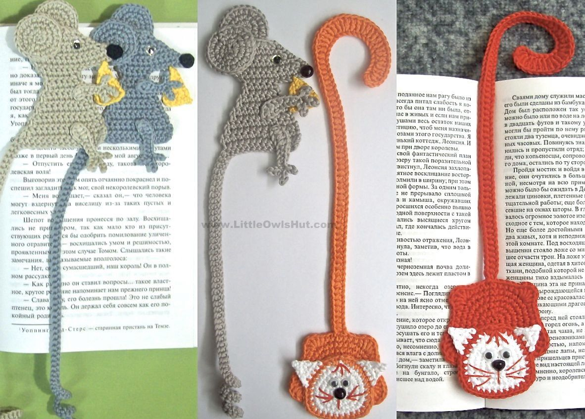 024 Crochet Pattern - Cat and Mouse Decor or Bookmarks - Amigurumi ...