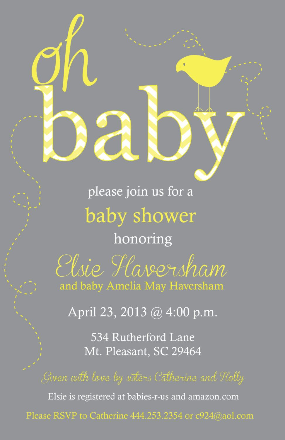 Yellow and Gray Neutral Baby Shower Chevron Invitation - Birdie Baby ...