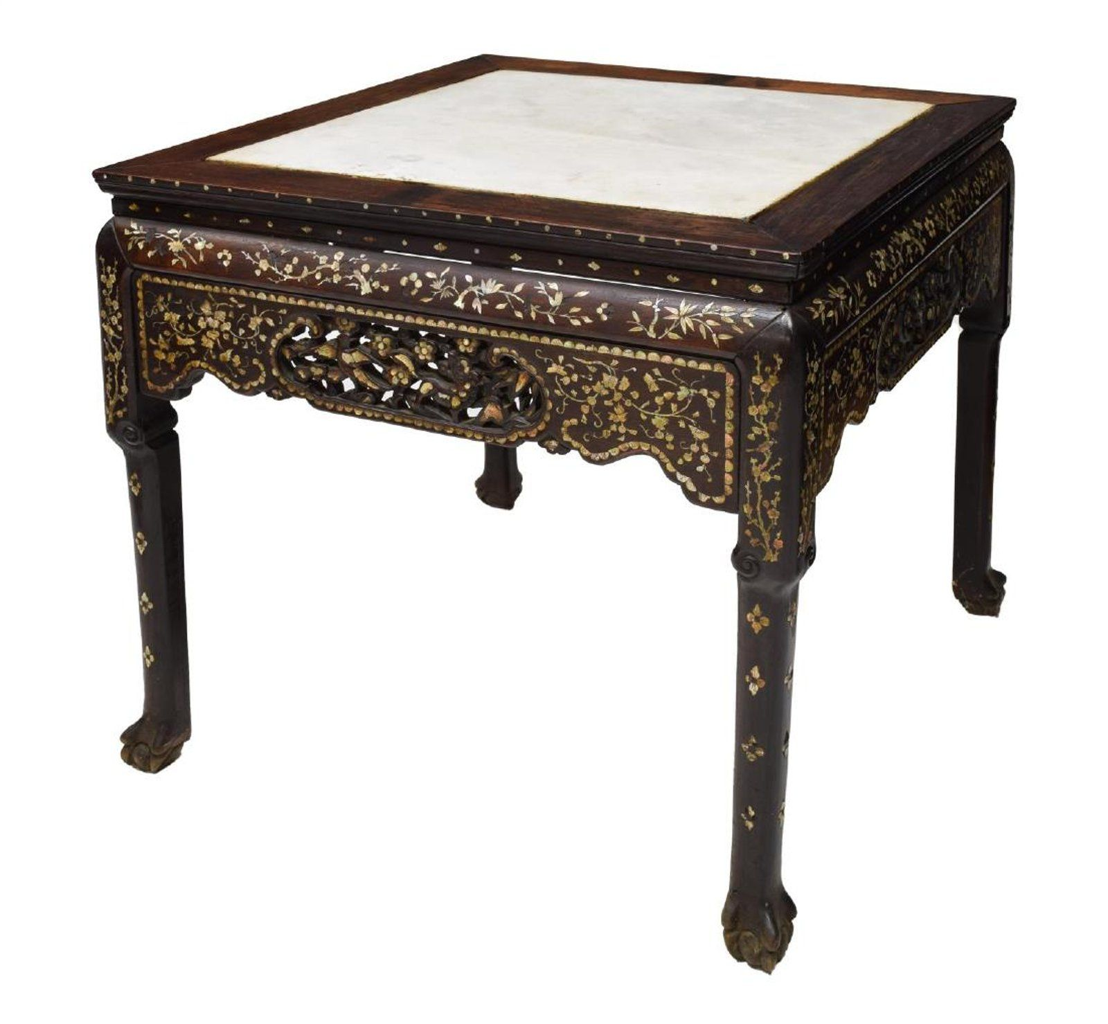 CHINESE MOTHER OF PEARL INLAID MARBLE TOP TABLE
