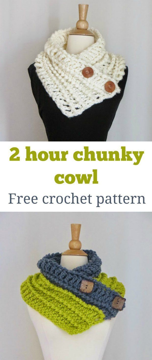 Button Cowl Crochet Pattern Free Tutorial | to do | Pinterest ...