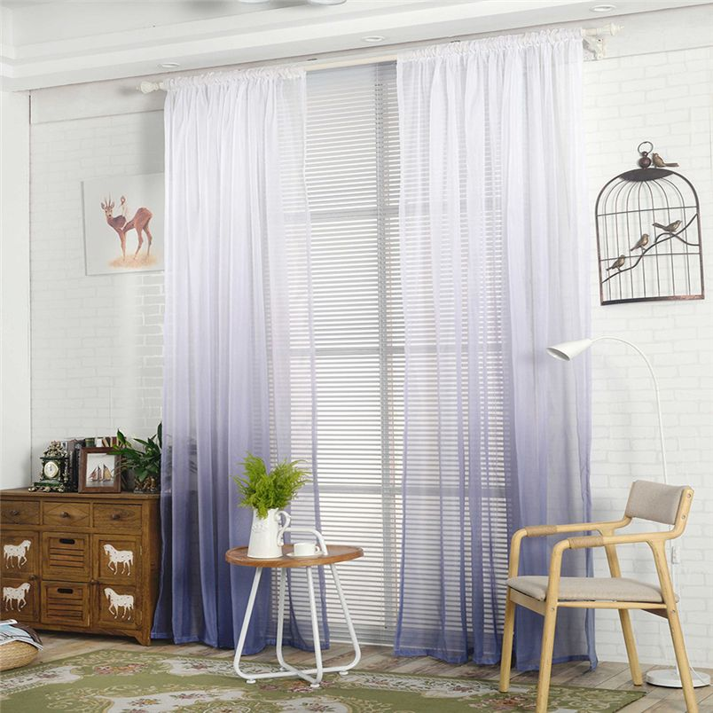 ouneed curtain gradient sheer curtain tulle window treatment voile