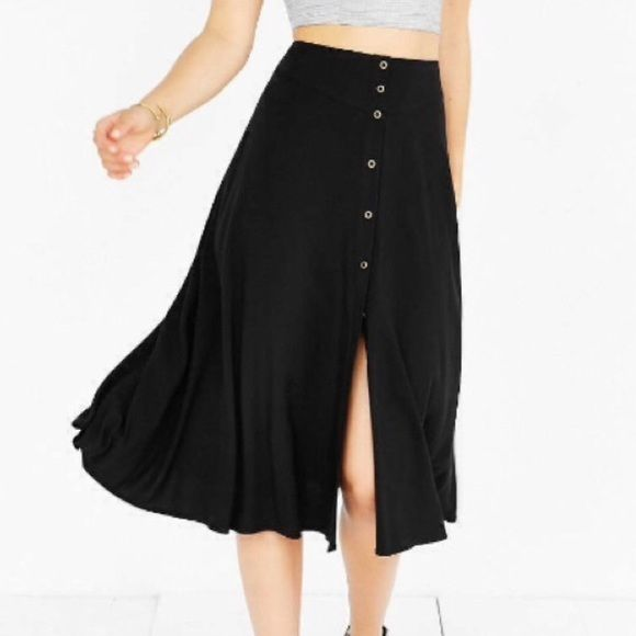 982f3cc5e0 NWOT Urban Outfitters Black Button Down Midi Skirt Ecote from Urban  Outfitters High waist, button