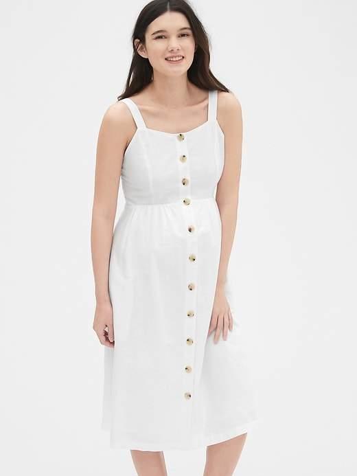 Gap Maternity Apron Midi Dress in 2019 | White maternity