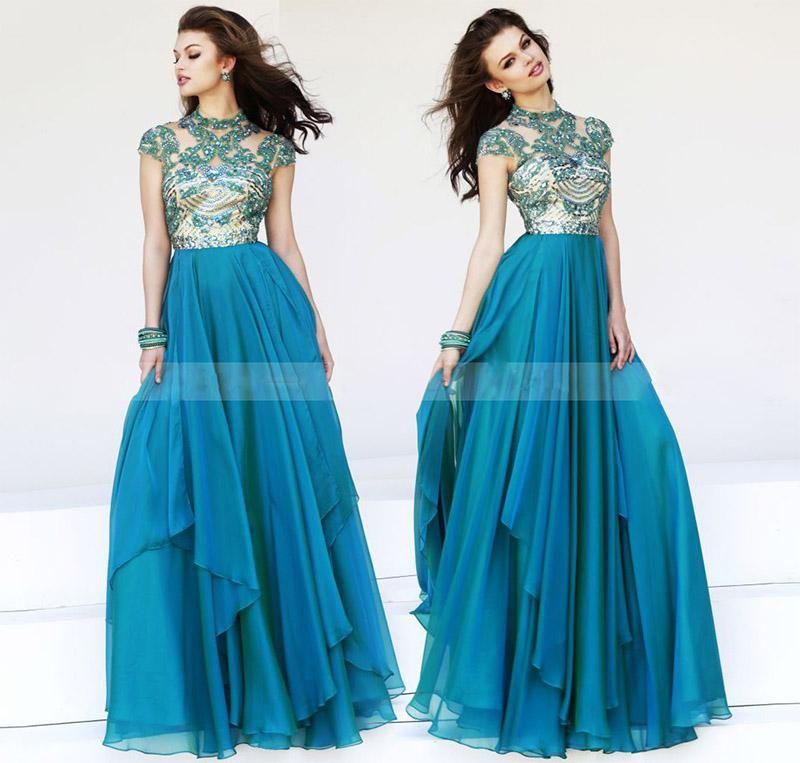 Wholesale Prom Dresses - Buy Best Selling 2014 A-Line Blue Chiffon Prom Dresses High Neck Cap Sleeve Applique Beading Prom Gowns Sexy Sheer Casual Dress, $118.64 | DHgate