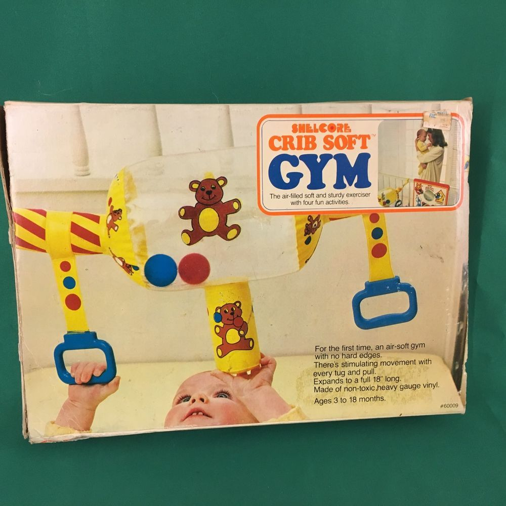 Crib gym for babies - Vintage Baby Gym Activity Soft Crib Toy Teddy Bear Shelcore Bright Colors Shelcore