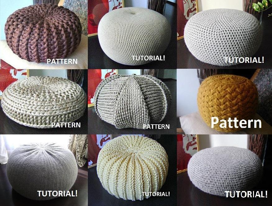 9 Knitted & Crochet Pouf Floor cushion Patterns Crochet Pattern Knit  Pattern Pouf Ottoman Pattern - 9 Knitted & Crochet Pouf Floor Cushion Patterns Crochet Pattern