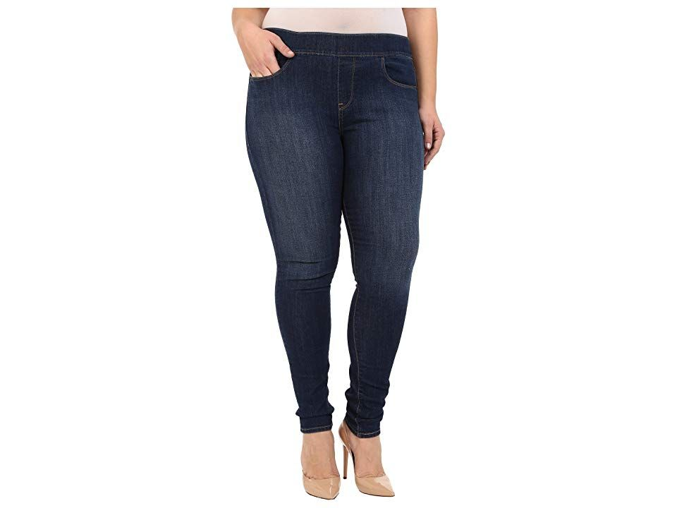 Levi's(r) Plus Pull-On Leggings (Dark Delight) Women's Jeans. Comfort is always in style. Step out with confidence in the Levi's Slimming Pull On Legging. Jean legging runs skinny from the hip through the leg. Higher  straight-cut waistband Woven logo label accents the right rear pocket. Five-pocket design with signature arcuate stitch at the back pockets. Wide stretch waistband. Black Waves: 98% cotton  2% elastane. Blue Supe